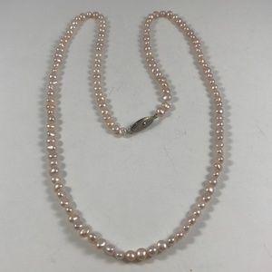 Vintage Genuine Pink Pearl Necklace